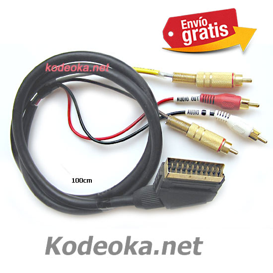 CABLE EUROCONECTOR CON SALIDA CLAVIJAS RCA PARA AUDIO VIDEO