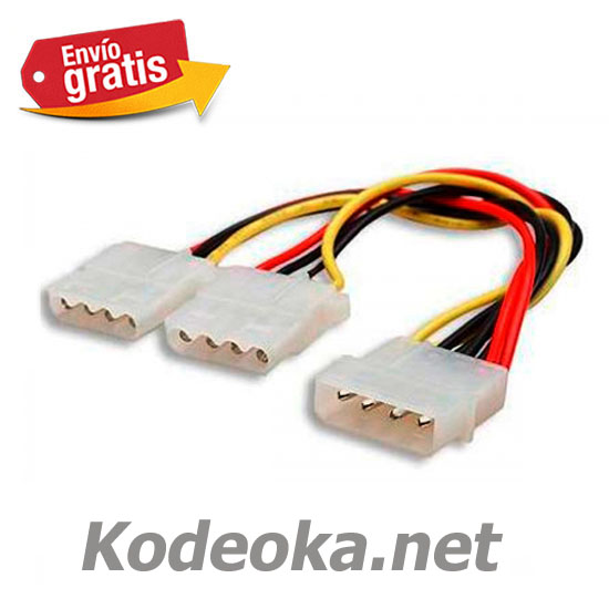CABLE ADAPTADOR PC MACHO MOLEX 2 HEMBRAS