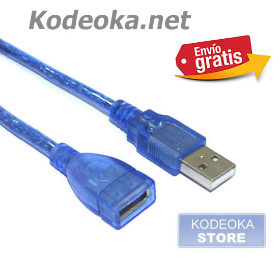 CABLE ADAPTADOR USB MACHO / HEMBRA AZUL
