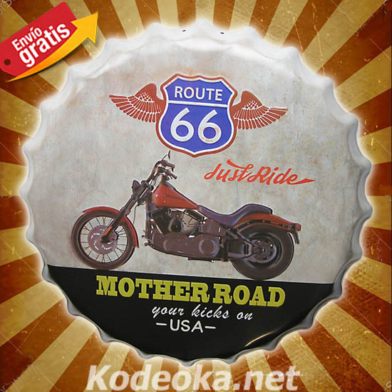 CHAPA METALICA MOTOCICLETA ROUTE66 MOTHER ROAD