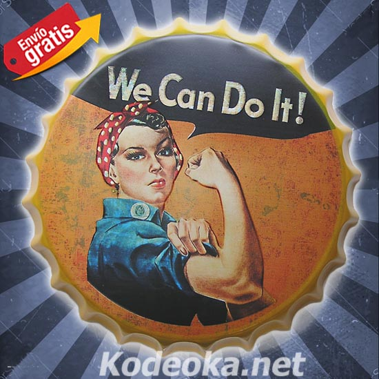 WE CAN DO IT CHAPA METALICA VINTAGE MUJER CORTE DE MANGA