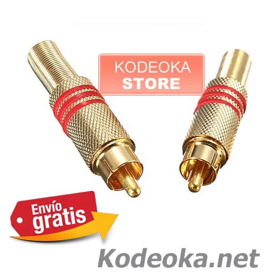 CLAVIJA CONECTOR RCA AUDIO VIDEO METALICA ANILLO ROJO
