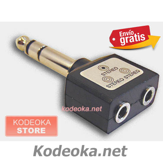 ADAPTADOR JACK 6,3 mm MACHO a 2x JACK 3,5 mm HEMBRA ESTEREO