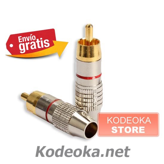 CLAVIJA CONECTOR RCA AUDIO VIDEO METALICA PLATEADA ANILLO ROJO