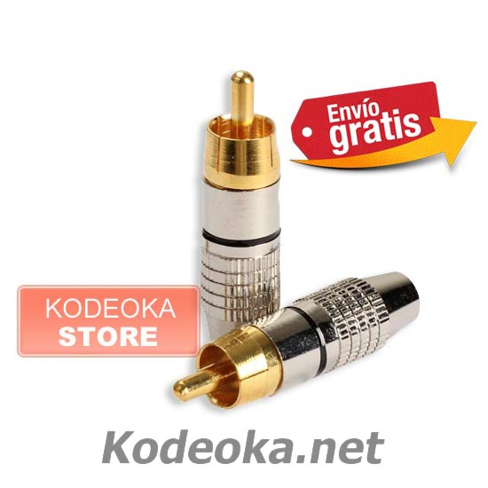 CLAVIJA CONECTOR RCA AUDIO VIDEO METALICA PLATEADA ANILLO NEGRO