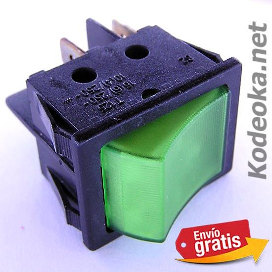 Interuptor conmutador 2 posiciones con luz verde kodeoka - Conmutador de luz ...