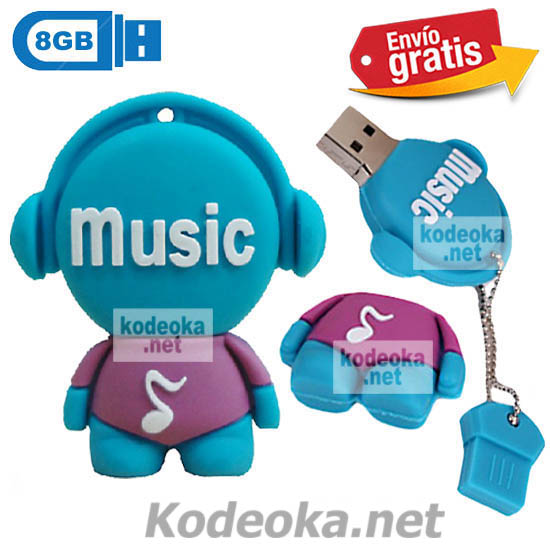 MEMORIA USB PENDRIVE DISC JOCKEY AZUL 8GB
