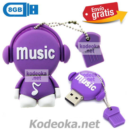 MEMORIA USB PENDRIVE DISC JOCKEY MORADO 8GB