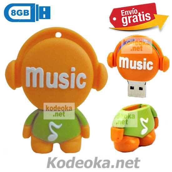 MEMORIA USB PENDRIVE DISC JOCKEY NARANJA 8GB