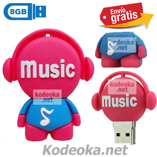 MEMORIA USB PENDRIVE DISC JOCKEY ROSA 8GB