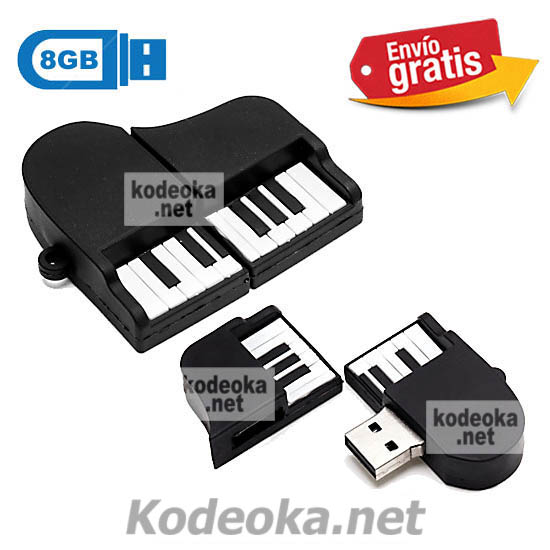 MEMORIA USB PENDRIVE PIANO DE COLA 8GB