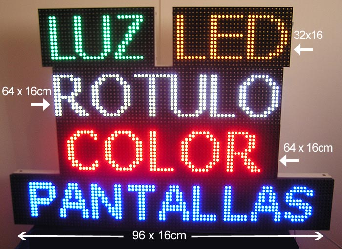 .CARTEL ROTULO LUMINOSO LED PROGRAMABLE MEDIDAS 64x16cm