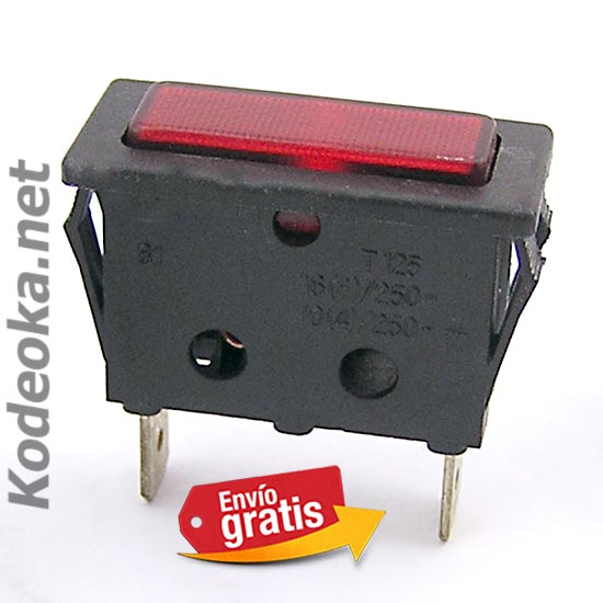 PILOTO LUMINOSO RECTANGULAR CONECTORES FASTON LUZ ROJA