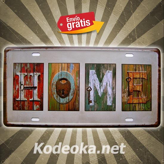 PLACA METALICA VINTAGE MATRICULA HOME CASA
