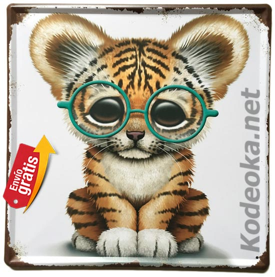 PLACA METALICA VINTAGE ANIMAL TIGRE GATITO GAFAS