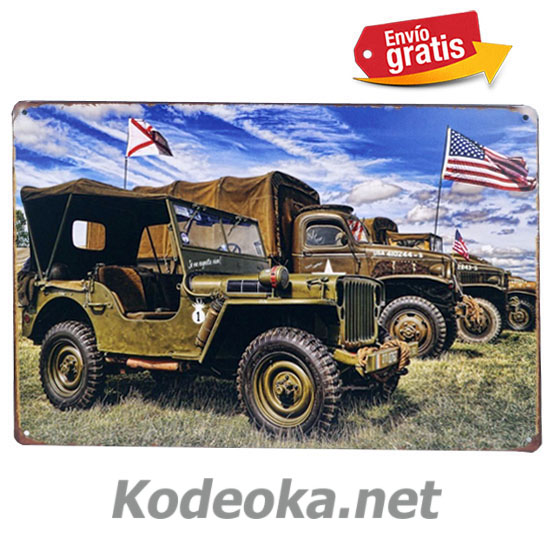 PLACA METALICA VINTAGE AUTOS MILITARES JEEP USA