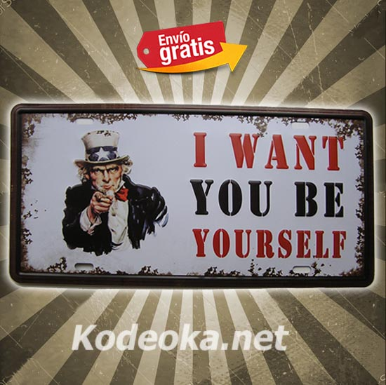PLACA METALICA VINTAGE MATRICULA I WAN YOU AMERICA USA