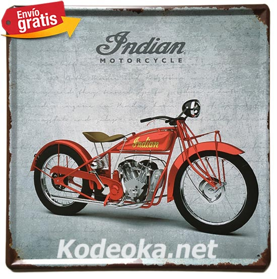 PLACA METALICA VINTAGE MOTOCICLETA INDIAN USA