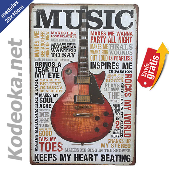 PLACA METALICA VINTAGE GUITARRA MUSICA ROCK