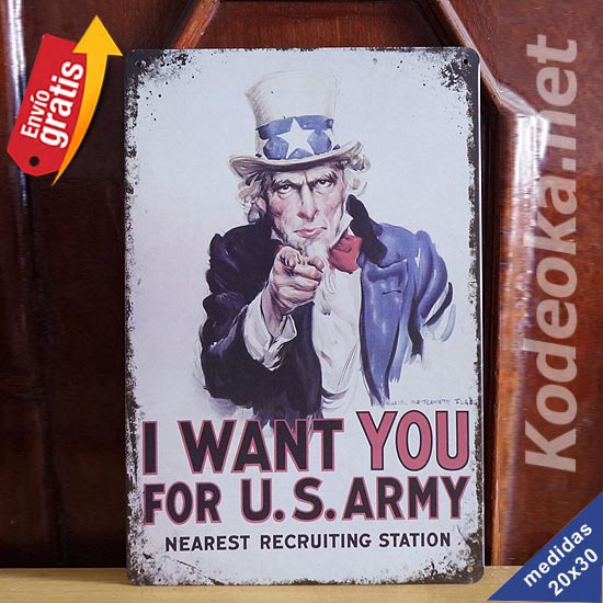 PLACA METALICA VINTAGE I WANT YOU ARMY USA