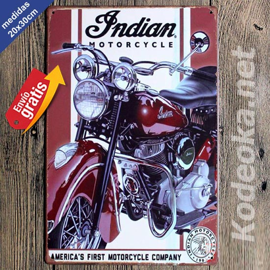 PLACA METALICA VINTAGE MOTOCICLETA INDIAN 2