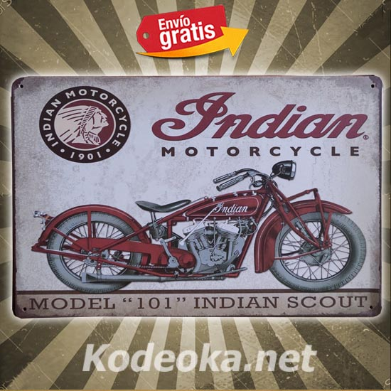 PLACA METALICA VINTAGE MOTOCICLETA INDIAN