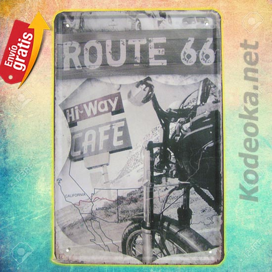 PLACA METALICA VINTAGE RUTA 66 CAFE HI WAY