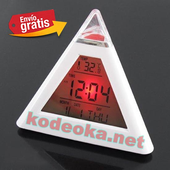Reloj Despertador Piramide Con Luz Roja Kodeoka