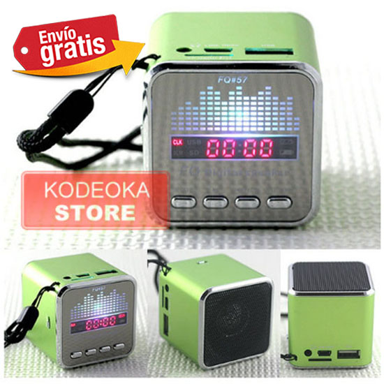 ALTAVOZ AMPLIFICADOR RADIO MP3 VERDE