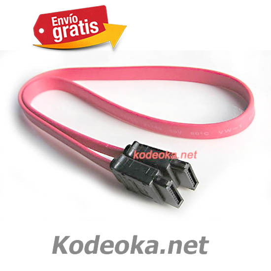 CABLE CONEXION SATA2 DATOS DISCO COLOR ROJO