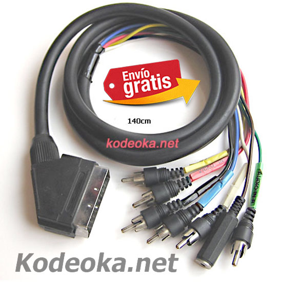 CABLE EUROCONECTOR SCART SALIDA RCA PARA AUDIO VIDEO