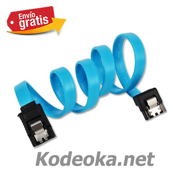 CABLE CONEXION SATA3 DATOS DISCO COLOR AZUL